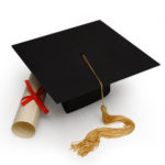 mortar board & diploma on white